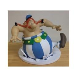 Asterix beeld Obelix zakt door het ijs