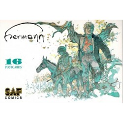 Hermann postcards set 2003 mapje met 16 postkaarten: afbeeldingen van Jeremiah, Torens van Schermwoude, Comanche...