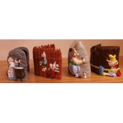 Asterix poppetje pennenbakjes set (4 stuks) met kartonnen magixbox 1999