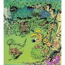 Marsupilami<br>poster 03 - Marsupilami bespiedt de jager uit een