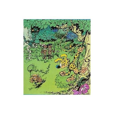 Marsupilami  poster 03 Marsupilami bespiedt de jager uit een