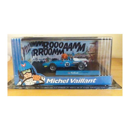 Michel Vaillant autootje F1-1970 (blauwe nr. 12 + 2 poppetjes)