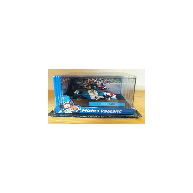 Michel Vaillant autootje F1-2003 (blauwe racewagen + 2 poppetjes)