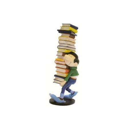 Guust Flater  beeld Guust zeult met stapel boeken
