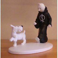 Kuifje  beeldje Zwart-wit Kuifje in toga + Bobbie (Sigaren van de farao pag. 114))